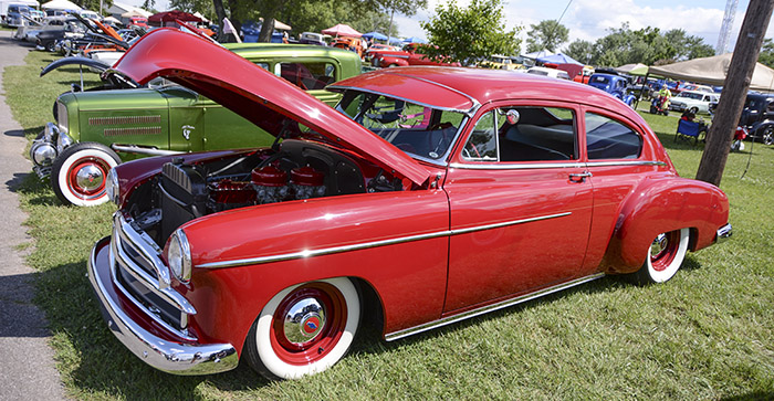 Regular steelies and dog dish caps...definitely a cool look for this low down Chevy Fleetline.