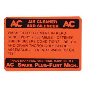 Decal 1933 AC Air Cleaner Orange-0