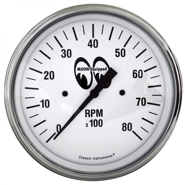 Tachometer 8000 RPM 3 3/8 White | Mooneyes-0