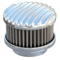 Air Cleaner Finned-Top Polished 2-Barrel-0