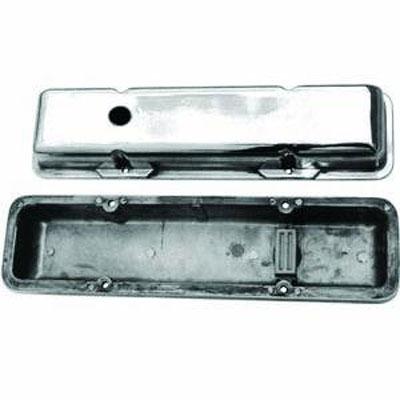 Polished Aluminum SBC Short Valve Cover | Plain with Hole-0