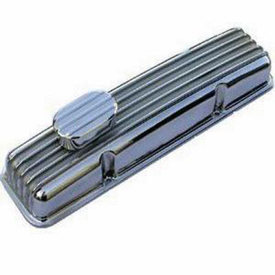 Polished Aluminum SB Chevy 1957-86 Finned Valve Cover-0