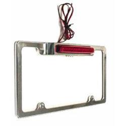 Aluminum License Plate Frame with Light & LED Third Brake Light | Chrome-0
