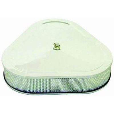 14 x 3 inch Triangular Style Air Cleaner Set | Paper Element & Flat Base | Chrome-0