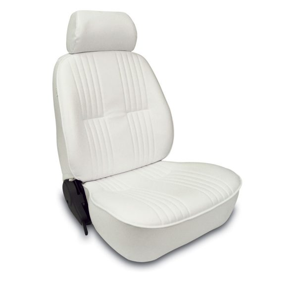 Low Back Bucket Seat   White Vinyl   Driver Side-0