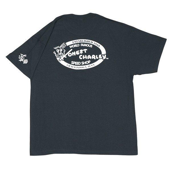 Honest Retro Oval Speed Shop T-Shirt | Black-0