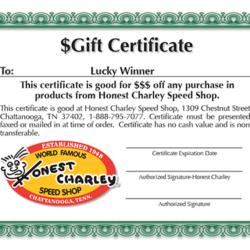 Honest Charley Gift Certificate-0