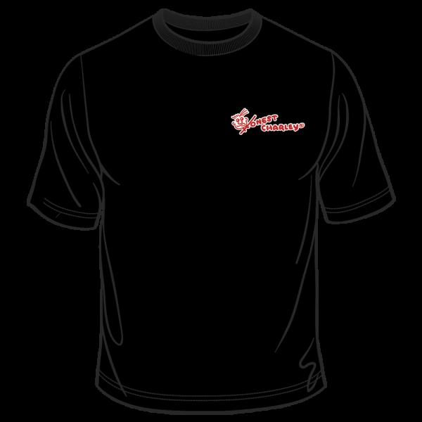 Honest Charley Logo Tee - White/Red on Black-0